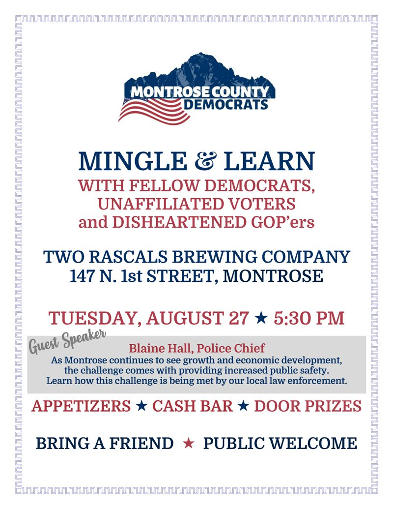 Montrose Meet & Greet | Tuesday, August 27, 2019 | Two Rascals Brewing Company
